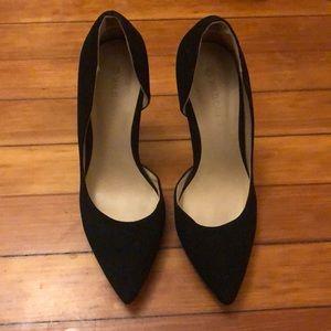 Black suede high heels